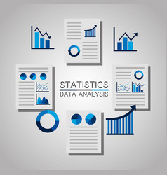 statistics data analysis documents file chart vector image