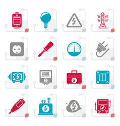 stylized electricity power and energy icons vector image vector image