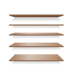 brown wood shelves with shadows vector image vector image