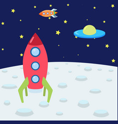 color with space rockets moon and ufo made in vector image