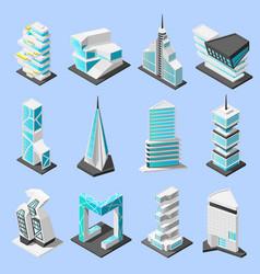 futuristic architecture isometric set vector image vector image