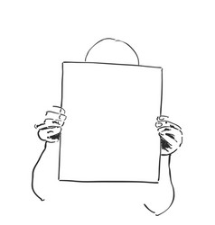 girl with frame in the hand sketching vector image vector image