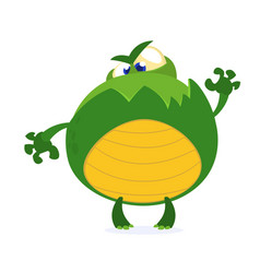 green monster frog waving kids cartoon vector image vector image
