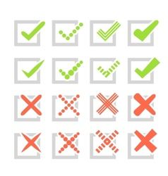 Set of different check marks or ticks and crosses vector image