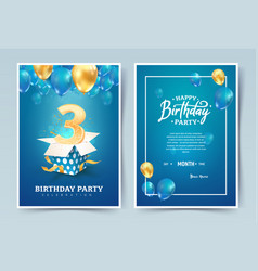 3 th years birthday invitation card three vector