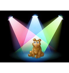 A bear sitting at the center of the stage with vector image