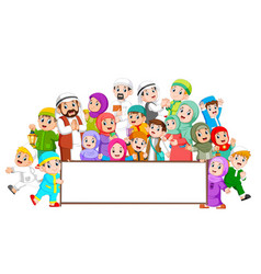 A muslim family are gathering near blank board vector