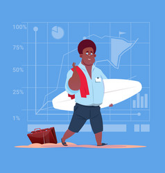 African american business man hold surf board wait vector