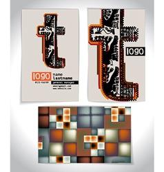 Ancient Business card design LETTER T vector
