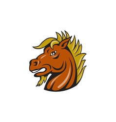Angry stallion head cartoon vector