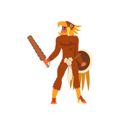Armed tribal male warrior in animal hide and skull vector