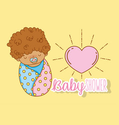 Baby boy with curly hair and pacifier vector