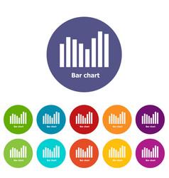 Bar chart icons set color vector
