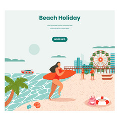 beach holidays web banner design template vector image