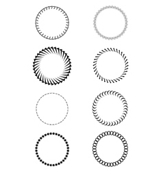 Black and white sat of round frames vector image