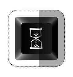 Black button hourglass icon vector
