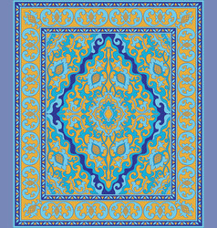 Blue and yellow oriental carpet vector