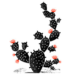 cactus silhouette vintage black cactus with red vector image