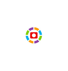 Camera icon round colored technology logo vector