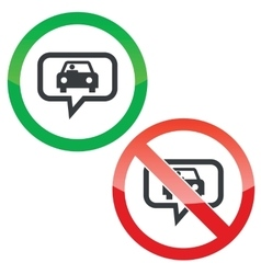 Car message permission signs vector