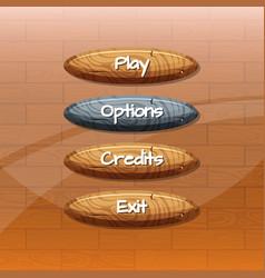 Cartoon style wooden buttons vector