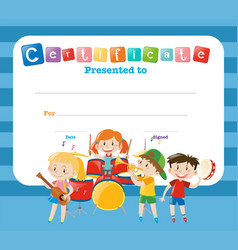 Certificate template with kids in the band vector