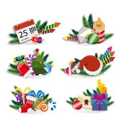 Christmas ornaments set vector image