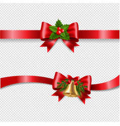 christmas red bow and transparent background vector image