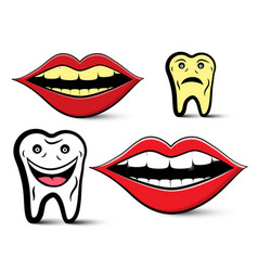 Cleaning teeth design with yellow and white teeth vector