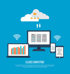 cloud computing concept with computer vector image