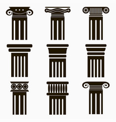 column icons set ancient architecture pillars vector image