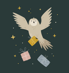 Creative poster with a flying owl and decorative vector