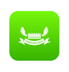 crown king icon green vector image