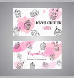 Cupcake cards with handdrawn cupcakes and pink vector