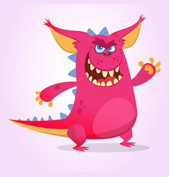 Cute cartoon pink dragon troll vector