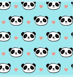 cute panda bear seamless pattern vector image