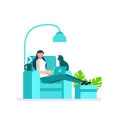 Digital person woman working at home vector
