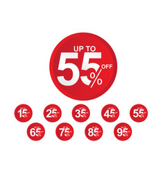 Discount label up to 55 off template design vector