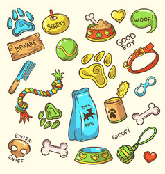 Dog stuff icons set vector