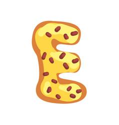 E letter in shape sweet glazed cookie vector