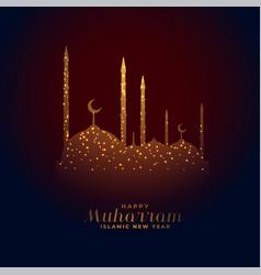 Elegant glowing mosque happy muharram design vector