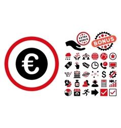 Euro Coin Flat Icon with Bonus vector image