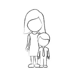 Figure woman with her son vector