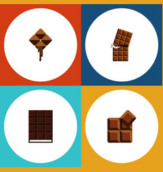 flat icon bitter set of wrapper cocoa dessert vector image