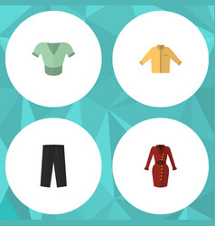 Flat icon garment set of casual clothes banyan vector
