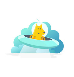 flying saucer dog mascot your pet in space vector image
