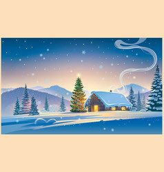 forest landscape with winter house and festive vector image