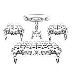 Furniture in classic rococo style ornament vector