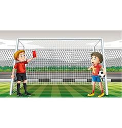 Goalkeeper getting red ticket vector