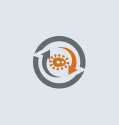 gray-orange virus round icon vector image